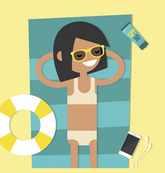 young female character lying on the beach top vector image