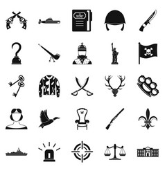 revolver icons set simple style vector image