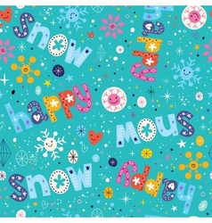 Happy snow winter seamless pattern vector