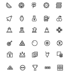 Casino line icons 2 vector