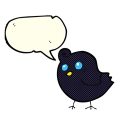 Cartoon bird with speech bubble vector