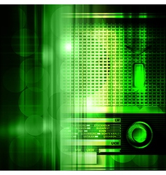Abstract green music background with retro radio vector