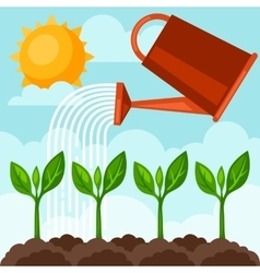 Watering plants from can image vector