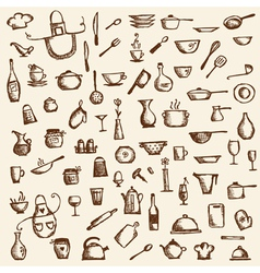 Kitchen utensils sketch drawing vector