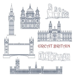 Attractions of great britain and chile linear icon vector