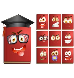 Red book with facial expressions vector