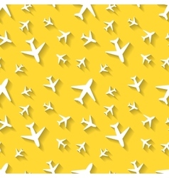 White airplane icons with shadow on yellow vector