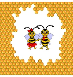 A couple of two funny cartoon bees vector image