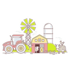 Agribusiness of colorful farm life with natu vector image