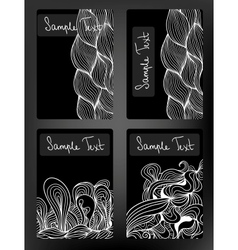 Black and white doodle cards collection vector image vector image