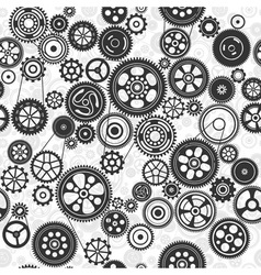 Black cogs and gears seamless background vector