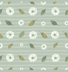 Botanical seamless pattern with white blooming vector