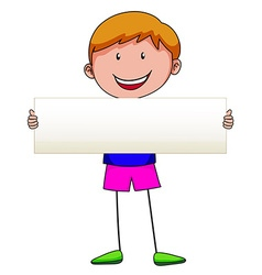 Boy holding white sign vector image