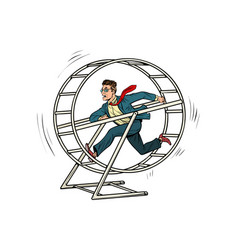 businessman in a squirrel wheel vector image vector image