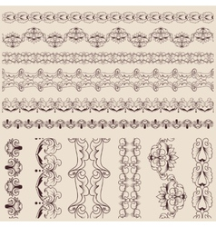 Calligraphic lace brush set vector image