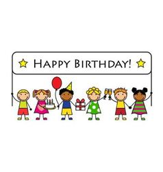 Cartoon kids with a banner birthday vector image vector image