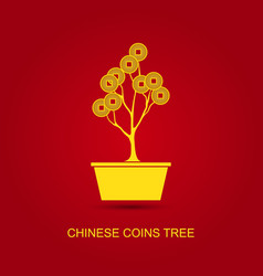 Chinese coins tree pot vector