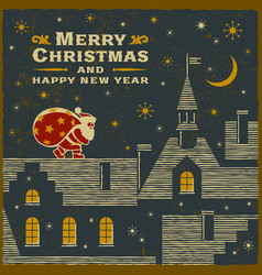 christmas card with santa claus on the roof vector image