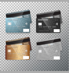 credit card set realistic bank cards isolated on vector image