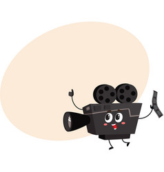 Cute funny vintage film camera character with vector