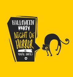 Halloween cat bubble card vector