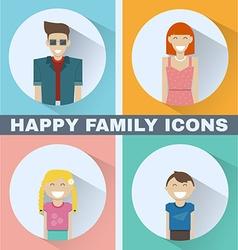 Happy family icons set vector