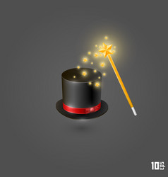 Hat and magic wand vector