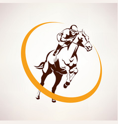 Horse race stylized symbol jockey riding a horse vector
