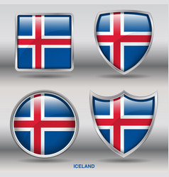 iceland flag in 4 shapes collection vector image vector image