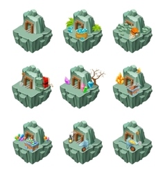 Isometric mining islands set vector