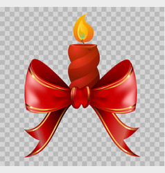 Lighted red christmas candle tied with red ribbon vector