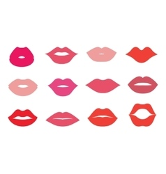 Lips icons shape set vector image vector image