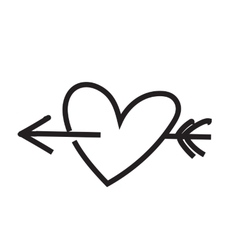 Minimalist heart with arrow vector image
