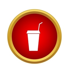 Paper cup with lid and straw icon simple style vector image