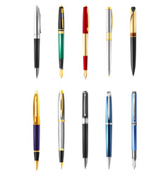 realistic business pen icon set vector image