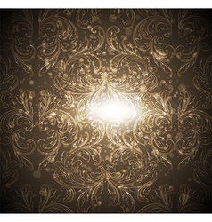 Seamless gold floral wallpaper vector