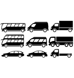 set isolated transport icons vector image