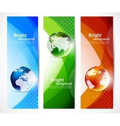 Set of banners with globes vector