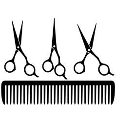 set of professional scissors vector image