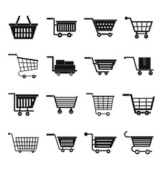 Shopping cart icons set simple style vector