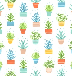 Succulents colorful doodle pattern vector image