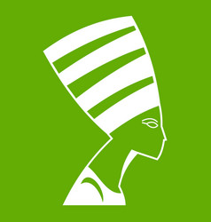 the head of the egyptian queen icon green vector image