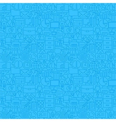 Thin line blue office business seamless pattern vector
