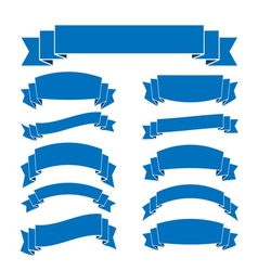 Blue ribbon banners set blank for decoration vector