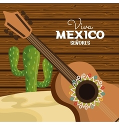 viva mexico guitar and cactus viva mexico graphic vector image