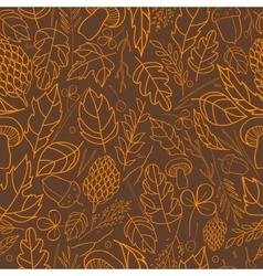 Pattern of autumn leaves berries grass vector