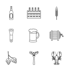 Alcoholic beverage icons set outline style vector