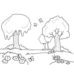 cartoon wood for kids coloring vector image