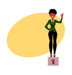 Black african american businesswoman standind on vector