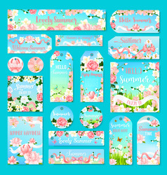 Flower gift tag and label set with summer bouquet vector